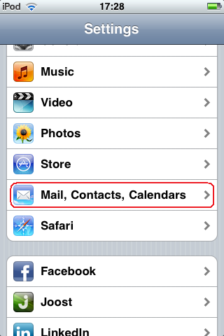 Settings - Mail, Contacts, Calendars